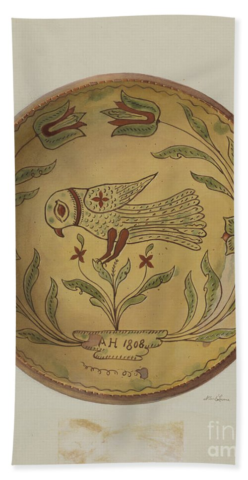 Hand Towel featuring the drawing Pa. German Pie Plate by Albert Levone