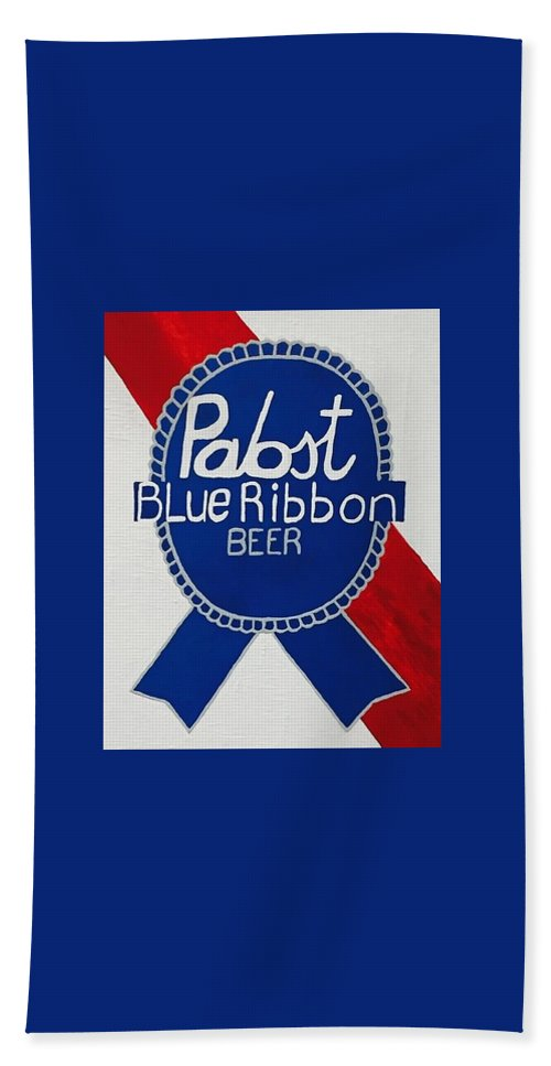 Pabst Blue Ribbon Beer Hand Towel featuring the painting Pabst Blue Ribbon Beer. by Jonathon Hansen