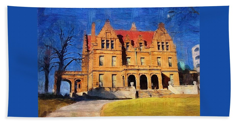 Architecture Bath Towel featuring the digital art Pabst Mansion by Anita Burgermeister