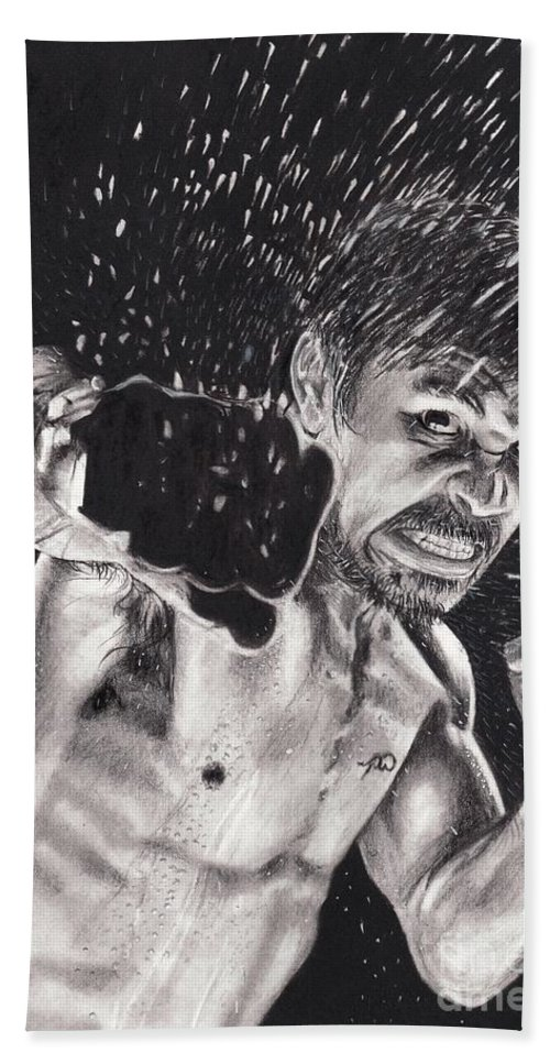 Manny Pacquiao Hand Towel featuring the drawing Pac-man by Joshua Navarra