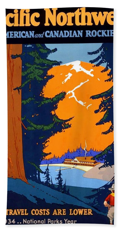 Pacific Northwest Hand Towel featuring the painting Pacific Northwest, American And Canadian Rockies, National Park by Long Shot