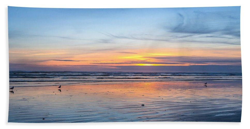 Pacific Northwest Sunrise Hand Towel featuring the digital art Pacific Northwest Sunrise by Mia DeBolt