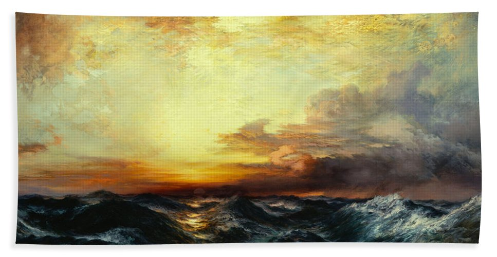 Thomas Moran Bath Towel featuring the painting Pacific Sunset by Thomas Moran
