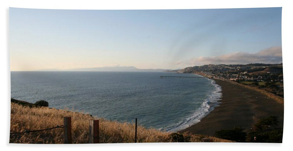 Pacifica Bath Sheet featuring the photograph Pacifica Shoreline by Prints365