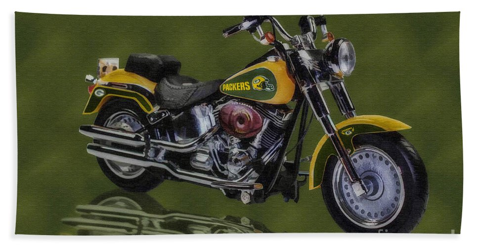 Harley Davidson Bath Sheet featuring the digital art Packers Harley - Oil by Tommy Anderson