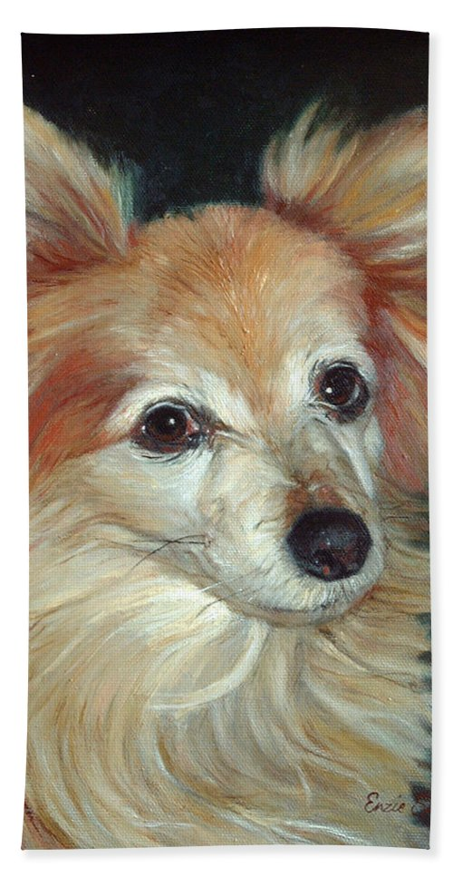 Pet Portraits Hand Towel featuring the painting Paco The Papillion by Portraits By NC