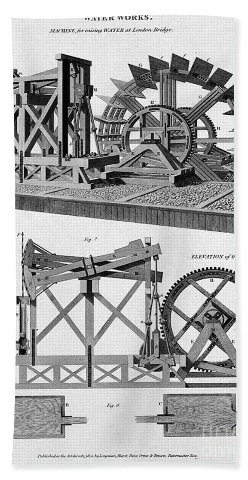 Historic Hand Towel featuring the photograph Paddle-driven Beam-engine Suction Pump by Wellcome Images