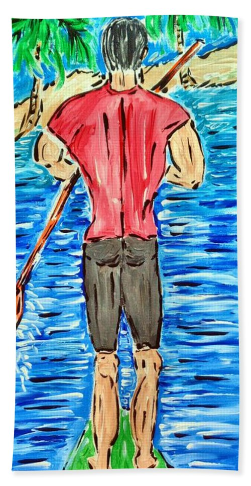 Handsome Man Bath Sheet featuring the painting Paddle In Paradise by Daran Schaner