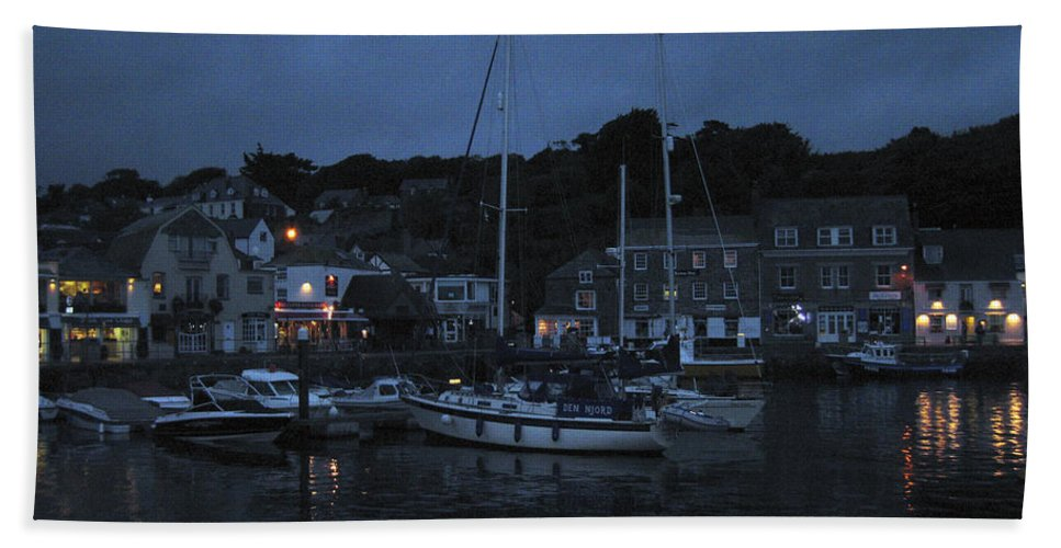 Padstow Hand Towel featuring the photograph Padstow Harbor At Night by Kurt Van Wagner