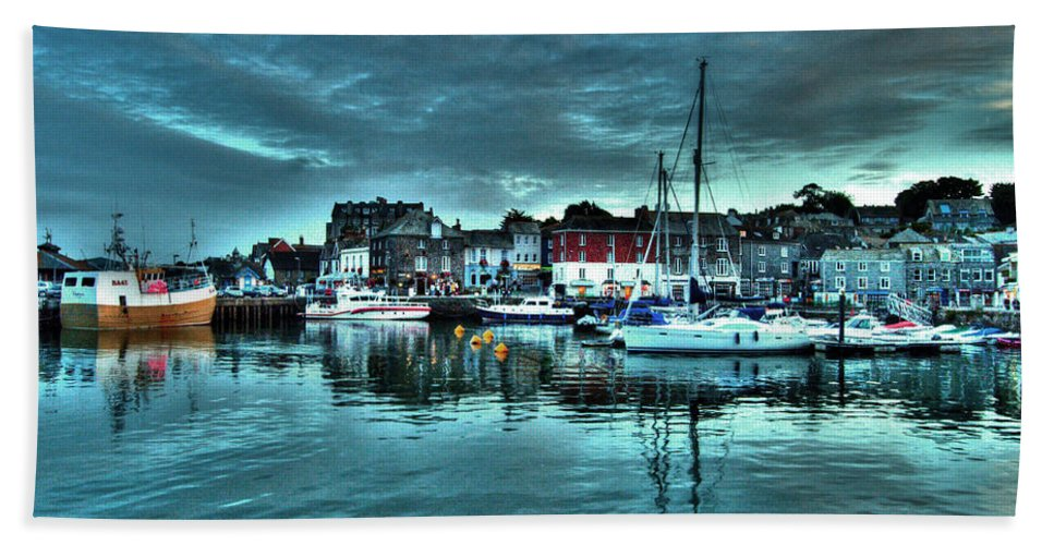 Padstow Hand Towel featuring the photograph Padstow Harbour At Dusk by Rob Hawkins