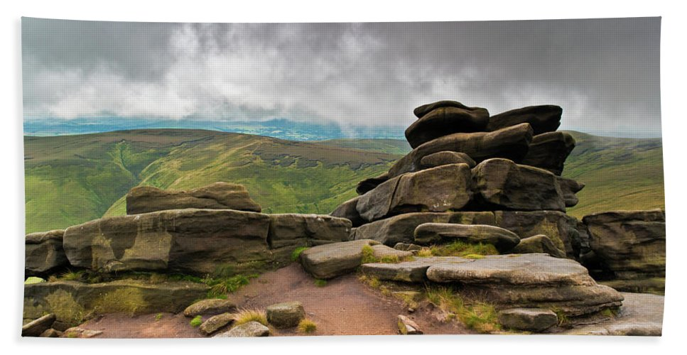 Landscape Bath Towel featuring the photograph Pagoda #1, Kinder Scout, Peak District, North West England by Anthony Lawlor