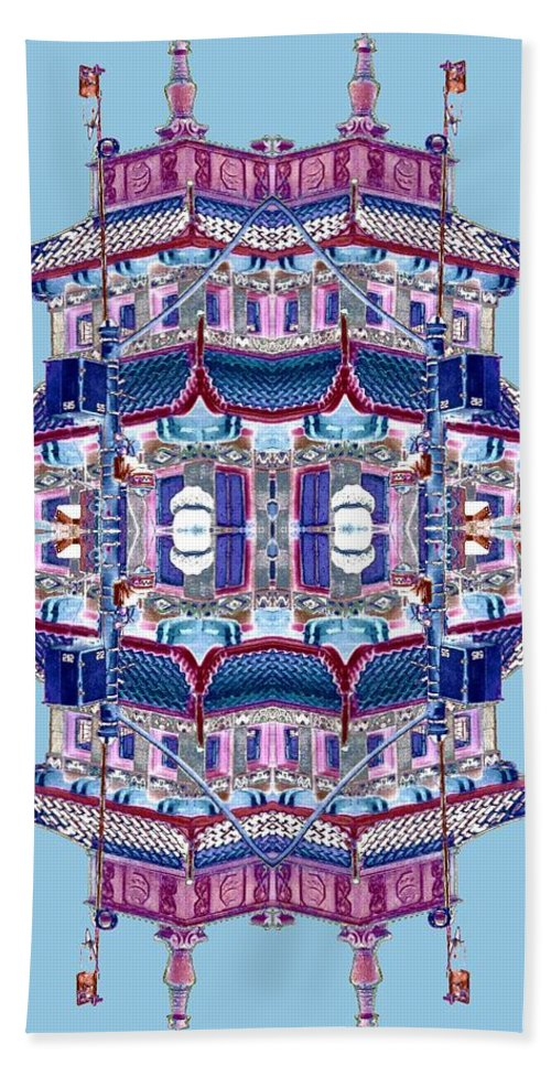 China Town Bath Sheet featuring the photograph Pagoda Tower Becomes Chinese Lantern 2 Chinatown Chicago by Marianne Dow