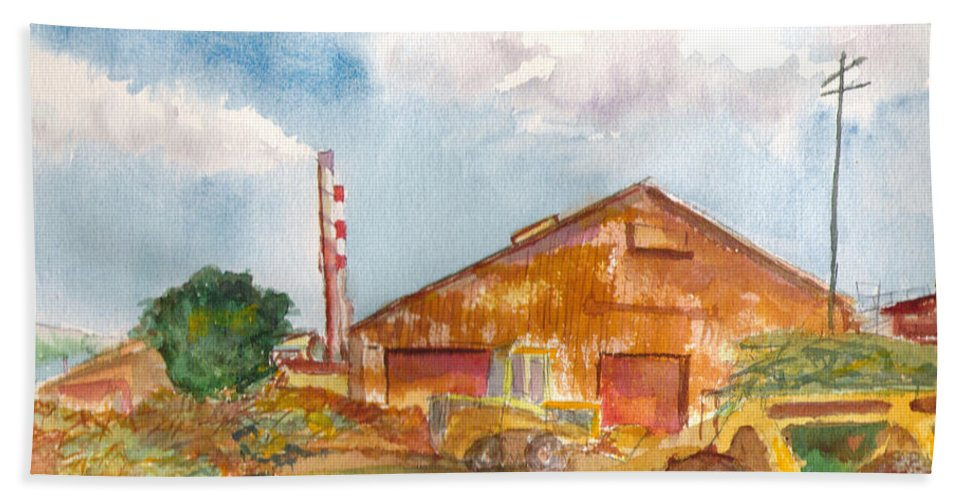 Sugar Bath Sheet featuring the painting Paia Mill 3 by Eric Samuelson