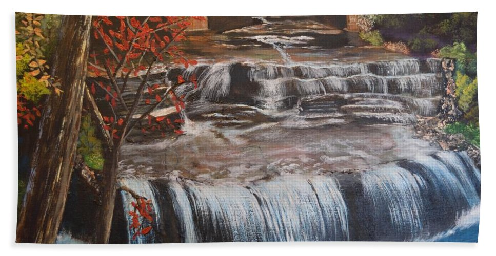 Paine Falls Hand Towel featuring the painting Paine Falls by Donna Cook