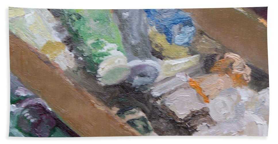 Paint Tubes Hand Towel featuring the painting Paint Box by Alicia Drakiotes
