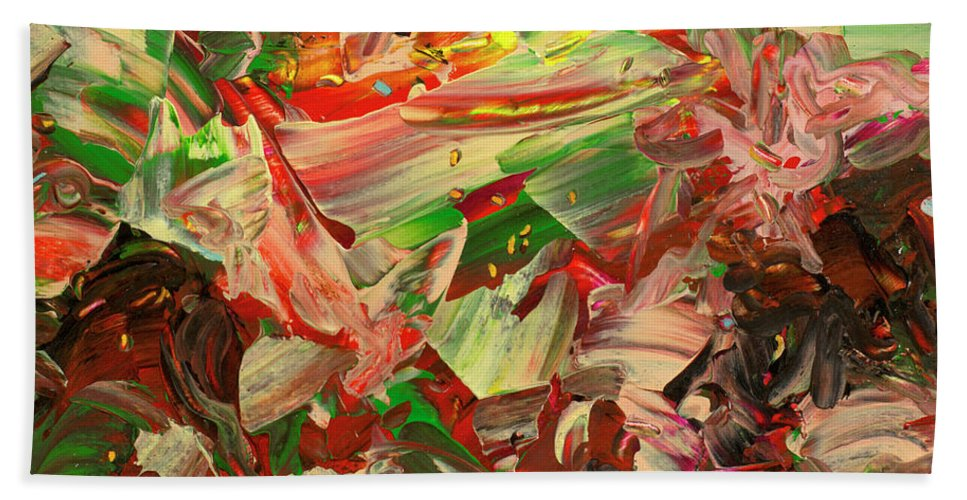 Abstract Bath Sheet featuring the painting Paint Number 48 by James W Johnson