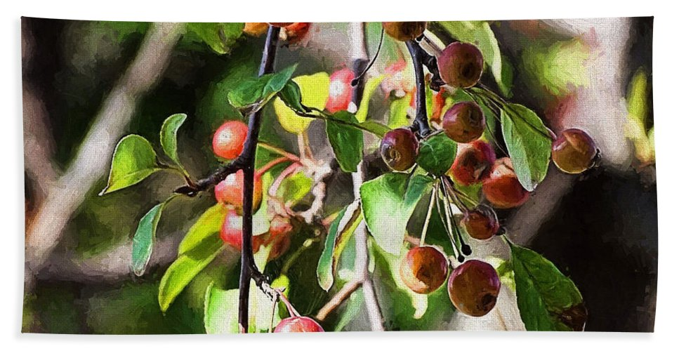 Berries Bath Sheet featuring the painting Painted Berries by Theresa Campbell