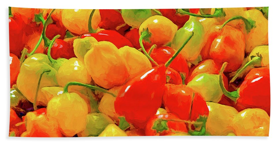 Food Bath Sheet featuring the digital art Painted Chilies by Casey Heisler