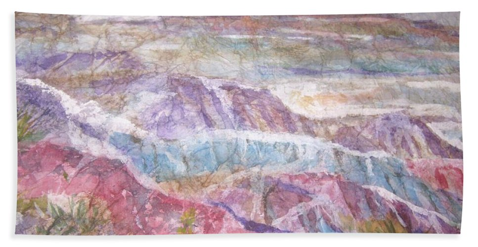 Painted Desert Bath Sheet featuring the painting Painted Desert by Ellen Levinson