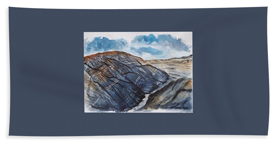 Plein Air Bath Sheet featuring the painting Painted Desert Landscape Mountain Desert Fine Art by Derek Mccrea