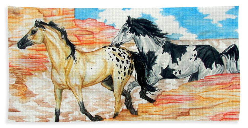 Horse Bath Sheet featuring the painting Painted Desert by Monica Turner