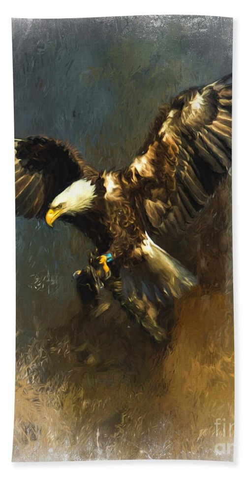 Birds Of Prey Hand Towel featuring the photograph Painted Eagle by Eleanor Abramson