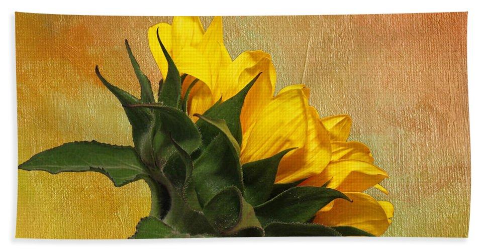 Sunflower Bath Sheet featuring the photograph Painted Golden Beauty by Judy Vincent
