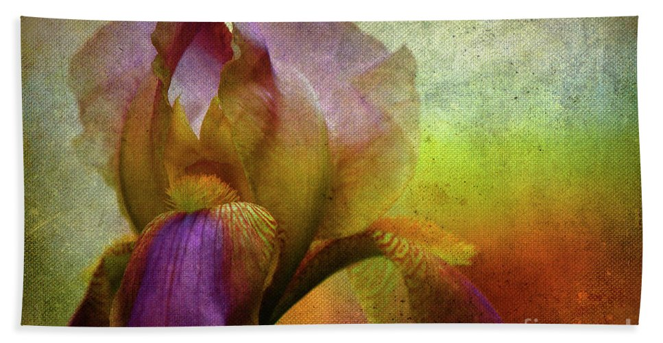 Iris Bath Sheet featuring the photograph Painted Iris by Sari Sauls