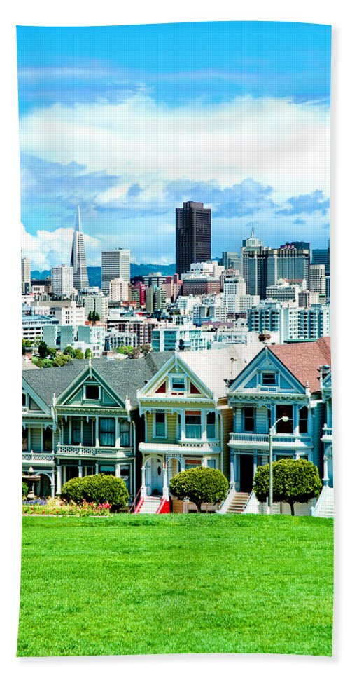 San Francisco Hand Towel featuring the photograph Painted Ladies by Greg Fortier