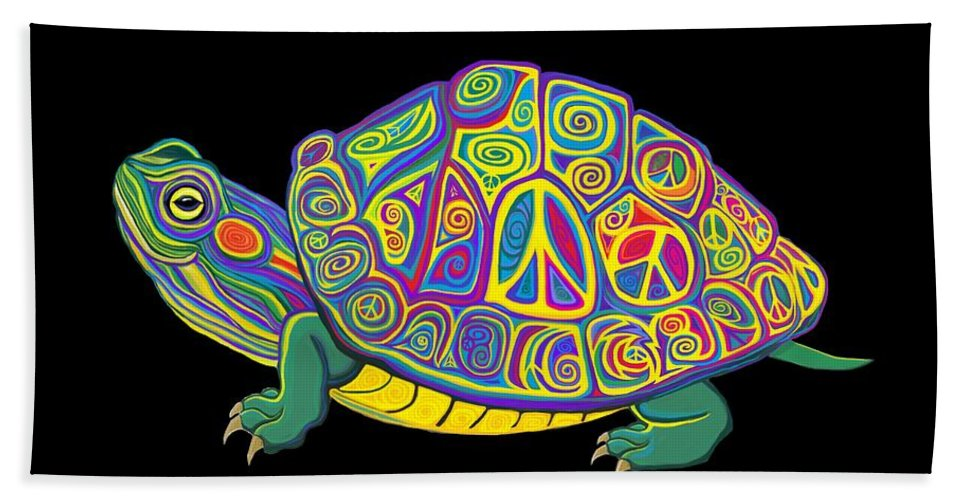 Turtle Bath Sheet featuring the digital art Painted Peace Turtle Too by Nick Gustafson