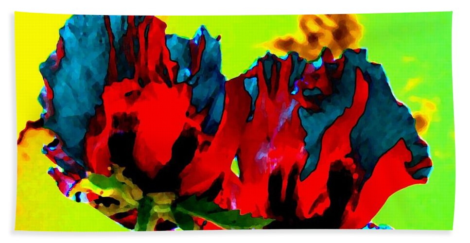 Poppies Bath Sheet featuring the digital art Painted Poppies by Will Borden