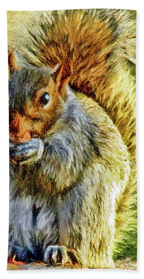 Texture Bath Sheet featuring the photograph Painted Squirrel by Geraldine Scull