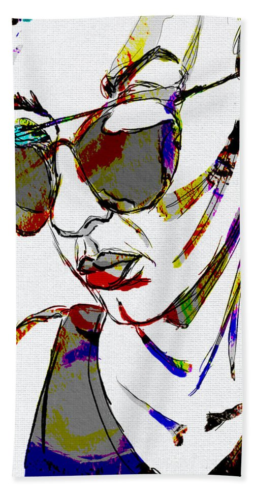 Sunglasses Bath Sheet featuring the digital art Painted Sunglasses by Michael Kallstrom