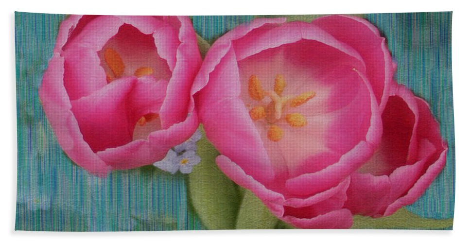 Flowers Hand Towel featuring the photograph Painted Tulips by Linda Sannuti