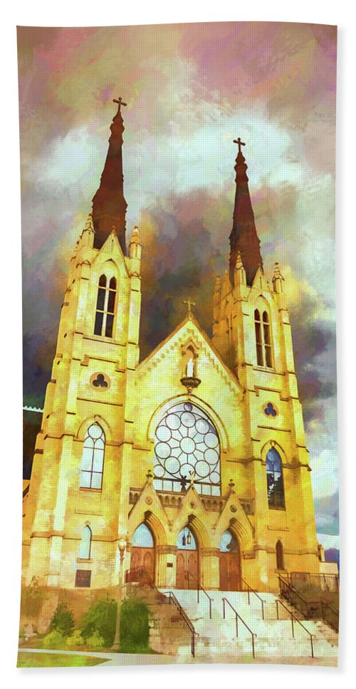 Architecture Bath Sheet featuring the photograph Painterly Church by Jim Love