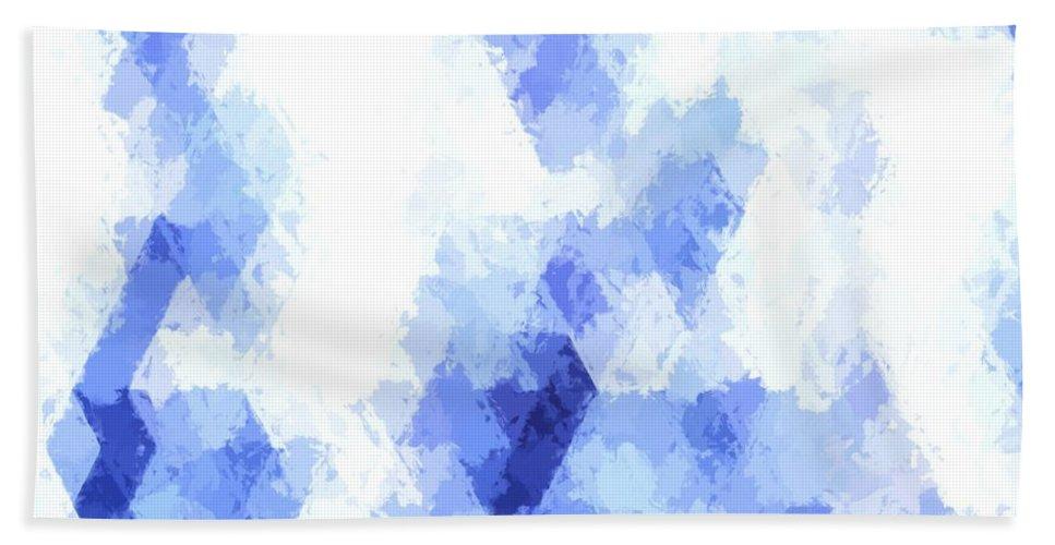 White Blue Diamond Geometric Pattern Hand Towel featuring the digital art Painterly Geometric Abstract by Ilze Lucero