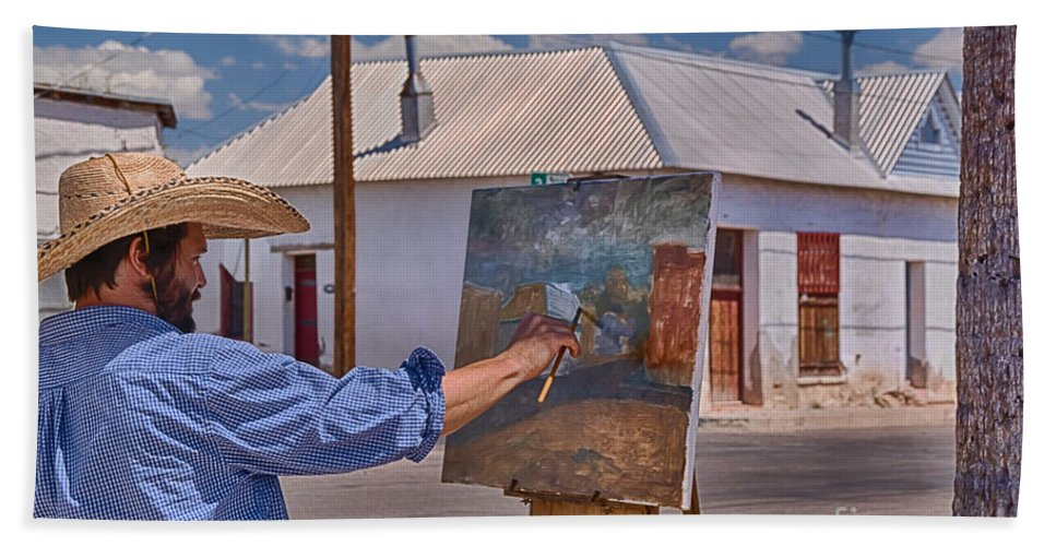 Painting Barrio Viejo Bath Sheet featuring the photograph Painting Barrio Viejo by Priscilla Burgers