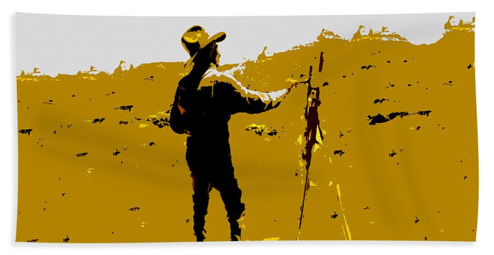Painting Bath Sheet featuring the painting Painting Cowboy by David Lee Thompson