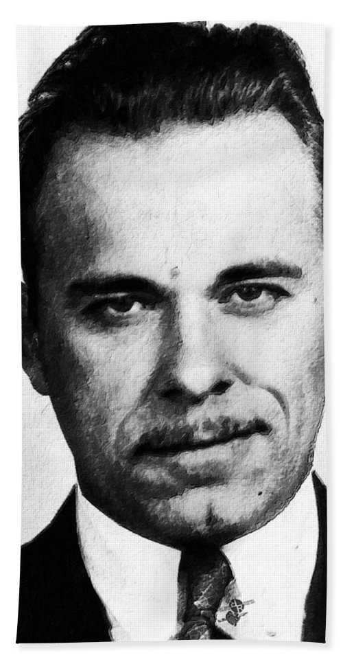 John Dillinger Bath Sheet featuring the painting Painting Of John Dillinger Mug Shot by Tony Rubino