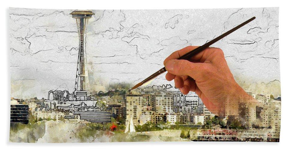 Fine Art Bath Sheet featuring the digital art Painting Seattle by Robert Carlsen