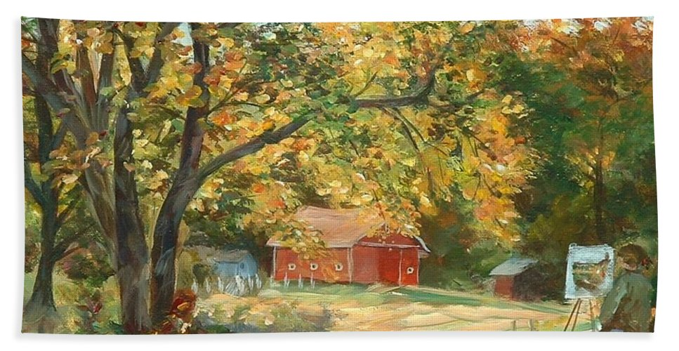 Painting Hand Towel featuring the painting Painting The Fall Colors by Claire Gagnon