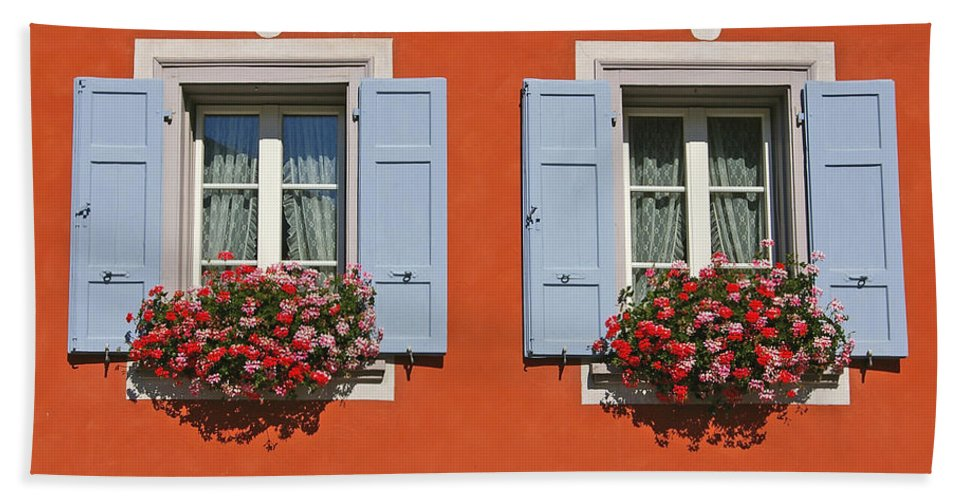 Red Hand Towel featuring the photograph Pair Of Blue Shutters by Tom Reynen
