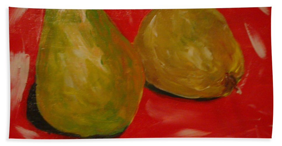 Pears Bath Towel featuring the painting Pair Of Pears by Melinda Etzold
