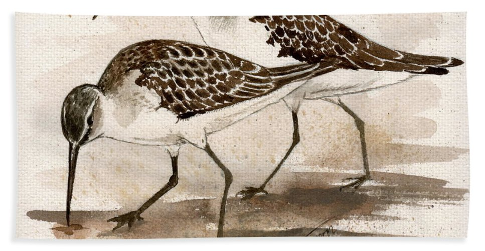 Sandpipers Hand Towel featuring the painting Pair Of Sandpipers by Nancy Patterson