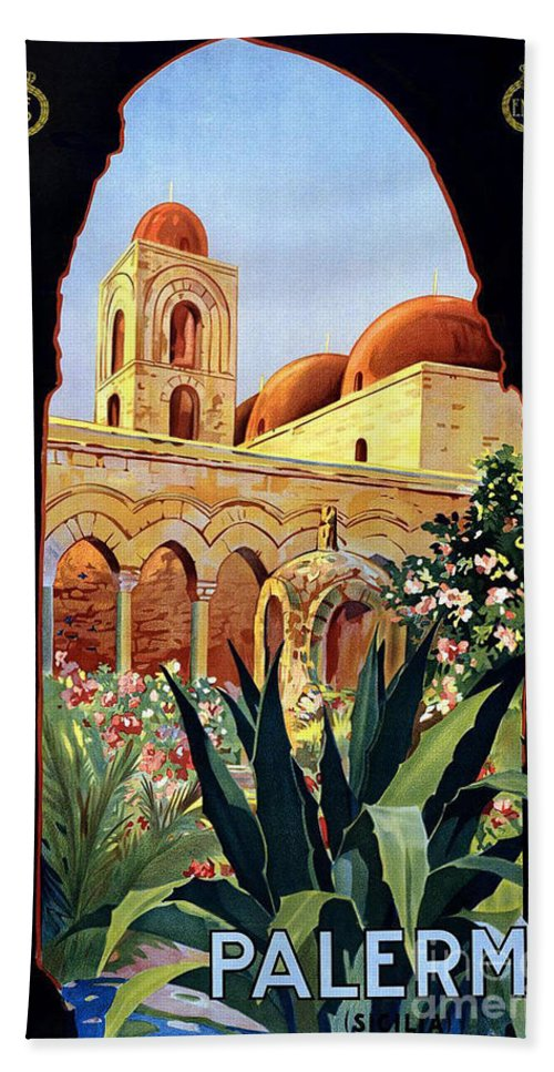 Palermo Italy Hand Towel featuring the painting Palermo Italy by Pd