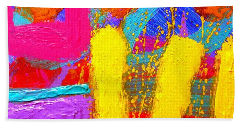 Abstract Hand Towel featuring the painting Palimpsest Ix by John Nolan