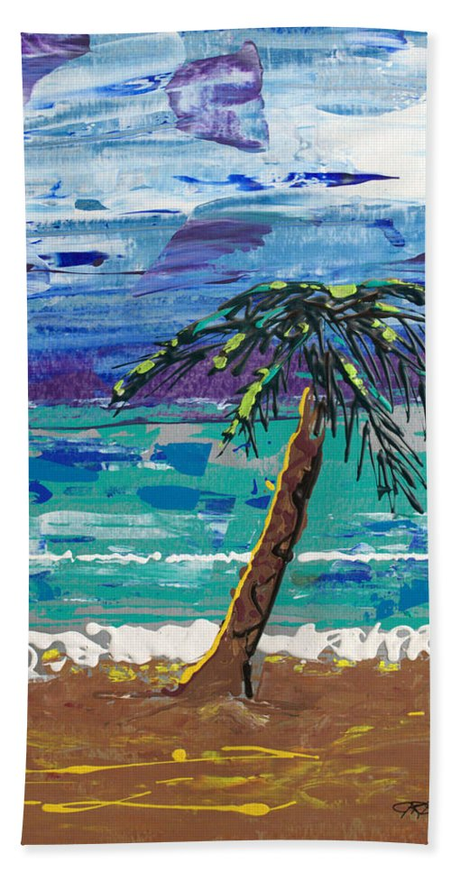 Palm Tree Hand Towel featuring the painting Palm Beach by J R Seymour