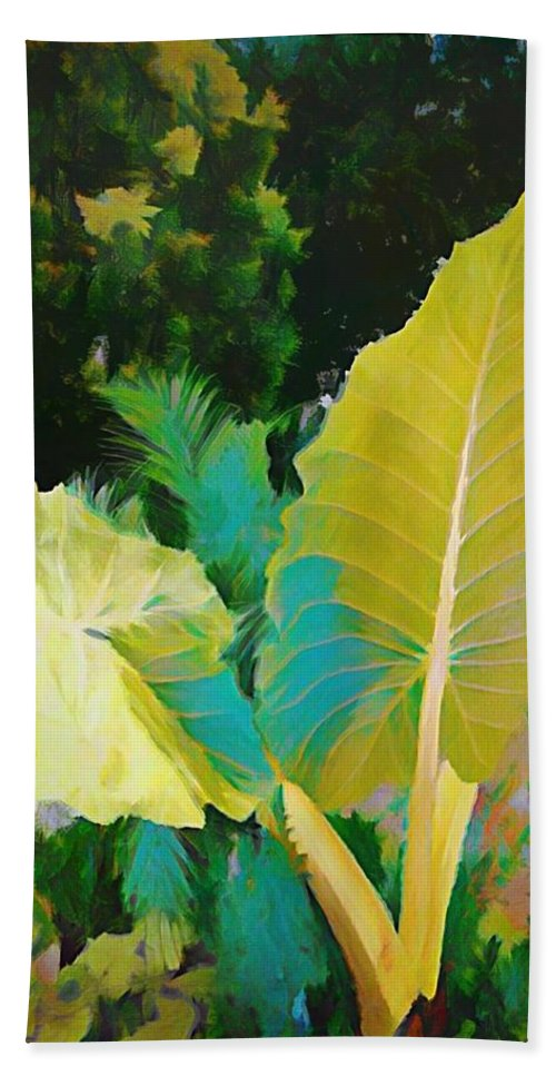 Palm Bath Sheet featuring the painting Palm Branches by Mindy Newman