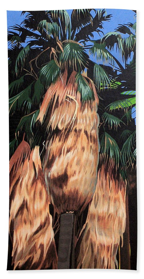 Desert Hand Towel featuring the painting Palm Canyon Entrance by Joe Roselle