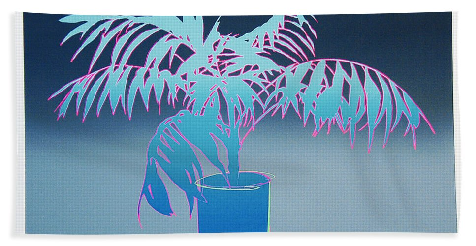 Plants Bath Sheet featuring the mixed media Palm by Charles Stuart